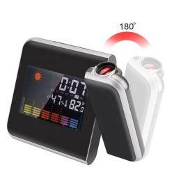 جهاز عرض رقمي بشاشة قابلة للتخفيت مع جهاز عرض بروجيكتور وسقف ومنبه ساعة وراديو مع منفذ شحن USB