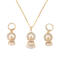 Мода женщин костюм 18k позолоченными контактами имитация кольцо браслет очарование ювелирные изделия с Earring, подвесная, ожерелья наборы ювелирных изделий