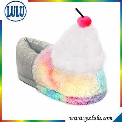 Shoes Soft Home Floor新しい女性の綿のスリッパの美しいチェリーの暖かいプラシ天の屋内女性スリッパ