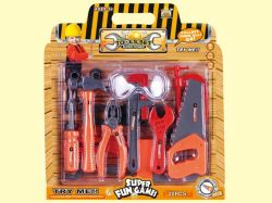 20명의 어린이들이 플라스틱 도구 장난감 도구 세트를 플레이하는 척 합니다 소년