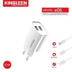 2.1A Micro быстрое зарядное устройство с PIN-ЕС двойной комплект кабеля USB Fast USB домашний стены адаптер + 3фт кабель micro-USB