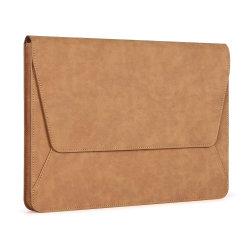 브라운 오피스 문서 케이스 PU 비즈니스 컴퓨터 가방 가죽 노트북 뚜껑이 있는 슬리브