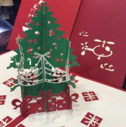 La garanzia della qualità Handmade scava fuori la cartolina d'auguri di carta dell'albero di Natale di arte 3D 3D