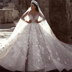 Ricamo fatto a mano bordante pesante di alta qualità principessa di cristallo del merletto vestiti da cerimonia nuziale degli abiti nuziali