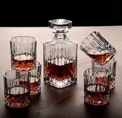 7 Peças estilo Italiano Decantador de vidro e conjunto de copos de whisky e elegante decantador de uísque ornamentadas com rolha e 6 copos de cocktails requintados