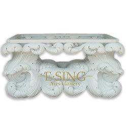 Tabla de mármol natural con la talla de flores para el hogar Jardín