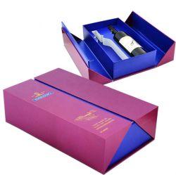 卸し売りペーパーによって折られる単一のびんのワイングラスのボール紙のデカンターのギフト用の箱