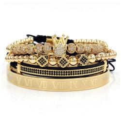 New Design Luxe handgemaakte sieraden voor heren 4 STUKS/set koperen krop Micro Pave CZ Ball Crown Brading Armband set