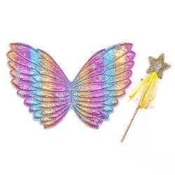 子供の女の子のための Halloween の Cosplay 衣裳 - 妖精のワンドの天使の翼