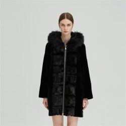 Черный среднего длинный мех одной гильзы норки мех овец мех Фокс воротник с Zip слой одежды