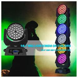 La luz de la etapa el Equipo de DJ Zoom de 36x18W moviendo la cabeza de lavado de luces LED