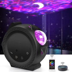 Star Light projector, Smart Wi-Fi Control LED Moon en Star projector lamp, met spraakbediening, 6 lichteffecten, 360 graden draaibare Sky Laser projector