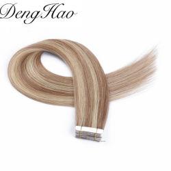 Comercio al por mayor elaborado 100% de Doble pelo humano Cinta invisible en Extensiones de Cabello Remy piel cinta trama Hair Extension