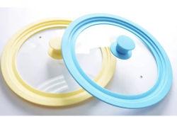 Coperchio di cottura di vetro del POT del silicone su ordinazione di colore