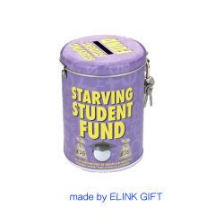 Cadeau promotionnel cadeau souvenir de l'argent ronde Coin de l'enregistrement de la Banque d'étain métal Box avec verrou