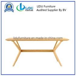 セットを食事する自然なカラー食堂の家具長方形の6 Seatersの固体カシの現代木のダイニングテーブル