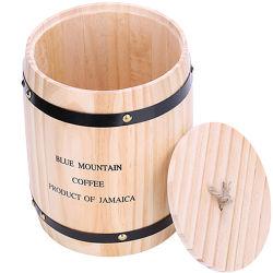 قهوة خشبية جيدة المستوى، برميل هدية خشبي من حبوب الفاصوليا لحفل الزفاف كاندي ناتشورال