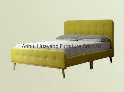 Het moderne Tweepersoonsbed van het Meubilair van de Slaapkamer van het Bed van de Stof met de Houten Benen van Knopen
