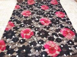 China Proveedores de flores de malla tejida superficial hueco vestido de encaje bordado tela Wholesale
