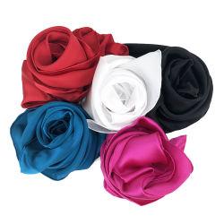 Тяжелых Shinny простой пользовательский цвет волос атласный шелк шарфа головки блока цилиндров со стороны перенесены