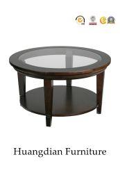 Tabela de extremidade baixa com madeira e o vidro temperado Top (HD920)