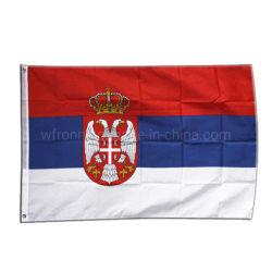 Silk Bildschirm gedruckte Digital gedruckte im Freien hängende Staatsangehörig-Serbe-Innenmarkierungsfahne des Polyester-Gewebe-3X5FT
