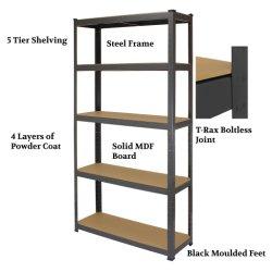 Rack de almacenamiento de nivel 5 estantes ajustables Garaje estantería metálica de acero
