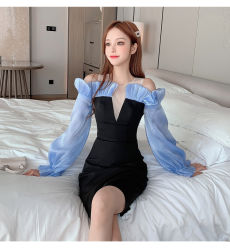 유럽 역 이브닝 드레스 여성용 파티 섹시한 숄더 드레스