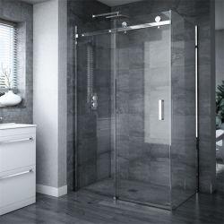 Baignoire baignoire angle du panneau coulissant noir Frameless Salle de bains les portes de douche