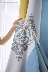 Stampa digitale schermo a tendina stampa cinese tessuto a tendina finito Tendina a doppia giunzione a doppio colore con tendina verticale