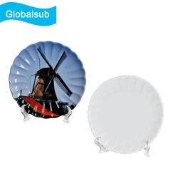 """Globalsub Sublimation plat ondulées plaque en céramique avec horloge 6,5"""""""