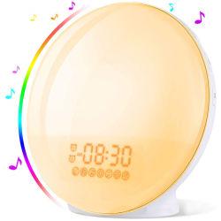 Smart WiFi Wake-up Light Jornada reloj alarma con 7 colores del amanecer/atardecer Mesa Digital Reloj Despertador con radio