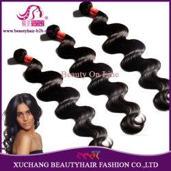 الجملة رخيصة أعلى جودة 100 ٪ من الشعر البكر ريمي البكر البيروفي تمديد الجسم موجة الشعر الطبيعي تمديد الجسم Weft أسود (BHF-LBB1240)