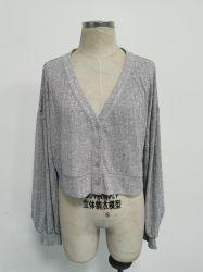 약간 시니니 실링방지 니트 크롭 카디건 여성용 솜털 원사 화이트 스웨터