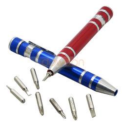 Mini Pen Promotie 8 van de Schroevedraaier in 1 Stevige Reeks van de Schroevedraaier van het Werktuig van de Zak van de Schroevedraaier Multifunctionele