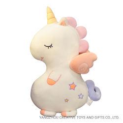 愛らしいスパンデックスの閉じる目のプラシ天のユニコーンのクッションが付いている極度の柔らかいユニコーンのおもちゃ