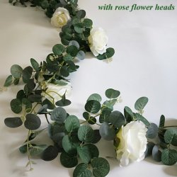 Pianta artificiale di stampa del commercio all'ingrosso 1.8m della ghirlanda di seta dell'eucalyptus con le teste di fiore della Rosa per la decorazione della parete del fiore
