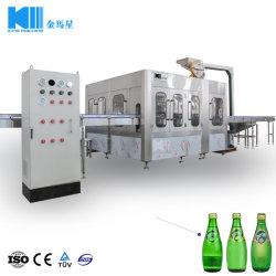 Automatisches Glasflaschen-Soda-funkelndes Wasser-Bier-Brauerei-Wein-heißes Saft-Tee-Kaffee-Milch-Soße-Honig-Energie-Getränk-abfüllende füllende Dichtungs-mit einer Kappe bedeckende Maschine