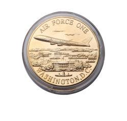 Antique Gold Esmalte Metal Personalizado Medalha Militar Air Force One Loja Moeda com caixa de acrílico