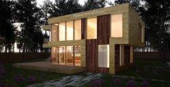 Techo plano de la moda clásica casa de madera