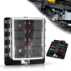 der Schaufel-10-Way geleuchteter Automobilsicherung-Block Sicherung-des Kasten-12-32V LED für Auto-Boot MarineTrike mit LED-Warnleuchten-Installationssatz