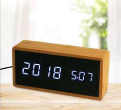 Moniteur de chevet en bois de Bambou numérique LED réveil pour la maison