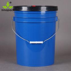 Wholesal Food Grade 20 litros de 5 galón azul blanco cubo de plástico con tapa