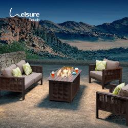 屋外の庭セットアルミニウムフレーム籐のソファ家具セット 火ピット - ダラス ( 出荷準備完了 )