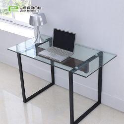 Le verre trempé clair haut Ordinateur de bureau bureau avec la jambe de métal