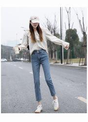 Venta caliente Casual de Corea a mediados de la cintura pantalones vaqueros Bootcut Jeans Strech Legging pantalones