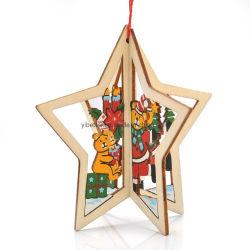 Madeira Craft Natal decoração pendura Natal decoração ornamento Xmas árvore decoração ornamento