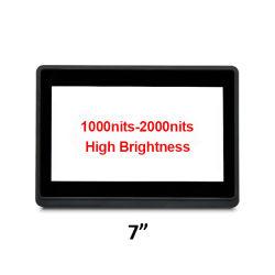 No exterior legível de 7 polegadas de alto brilho 1000nits de estrutura aberta monitor de ecrã táctil LCD com vidro temperado IPS tft monitor HD retroiluminação LED para uso de Publicidade