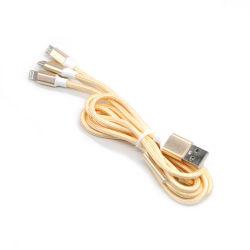 Нейлоновые экранирующая оплетка кабеля типа C быстрой зарядки телефона зарядное устройство 3 в 1 Micro зарядный кабель USB данных для Apple iPhone
