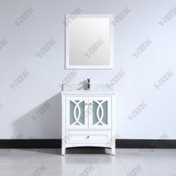 Hot-Series salle de bain blanc ou gris de gros de la vanité, armoire en bois massif
